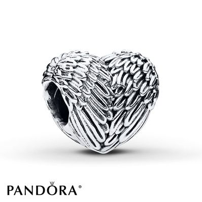 The wings of an angel wrap around this heart-shaped sterling silver charm from the PANDORA Autumn 2015 collection. Style # 791751.