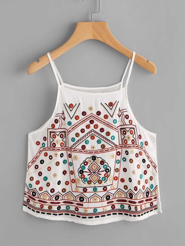 Shop Aztec Embroidered Slit Side Cami Top online. SheIn offers Aztec Embroidered Slit Side Cami Top & more to fit your fashionable needs.