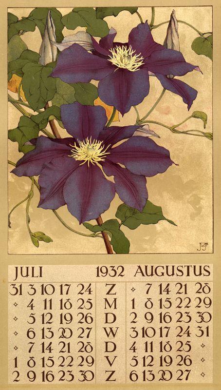 1932 ¤ Juli Augustus calendar 6 leaves : col. ill. ; 40 x 22 cm. Créateur: Voerman, Jan, Jr. ( illustrator ) glorious purple clematis