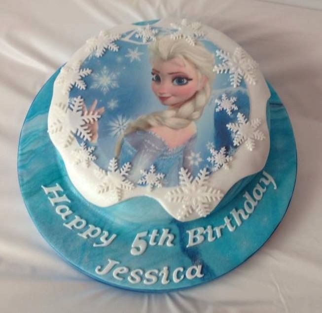 Frozen Elsa Themed Edible Image Cake decorated but Coast Cakes Ltd