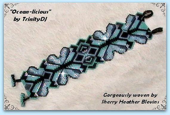 BP-BR-137 a - 2015 - 90 océan-Licious - motif de broderie perlée Brick Stitch, graine perle beadweaving tutoriel, bijoux, modèle de bracelet, bracelet perlé