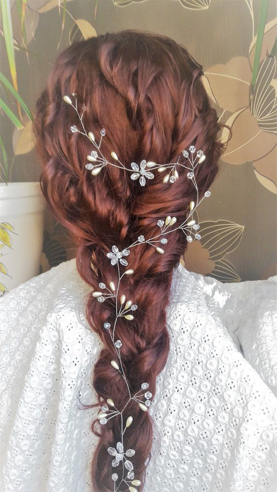 Extra Long Hair Vine Bridal Hair Vine by CrystalLadyHandmade