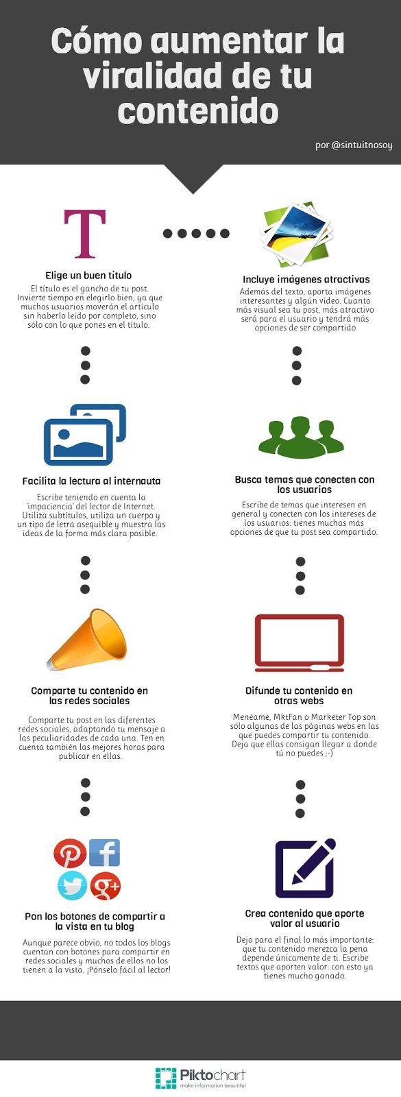 8 maneras de aumentar la viralidad de tu contenido Por: @sintuitnosoy #infografia #infographic #marketing