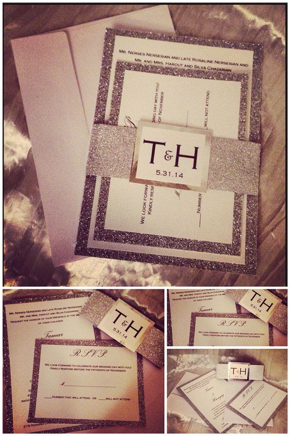 Hey, I found this really awesome Etsy listing at https://www.etsy.com/listing/170587422/wedding-invitation-silver-glitter