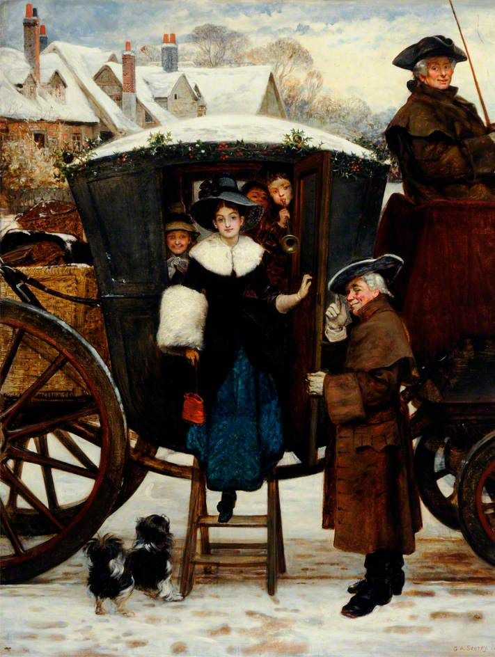 'Grandmamma's Christmas Visitors' painted in 1873 by George Adolphus Storey.: