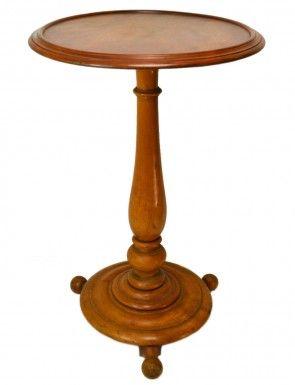 Round Blonde Wood Side Table on Ball Feet, Antique Biedermeier Continental European, circa 1840