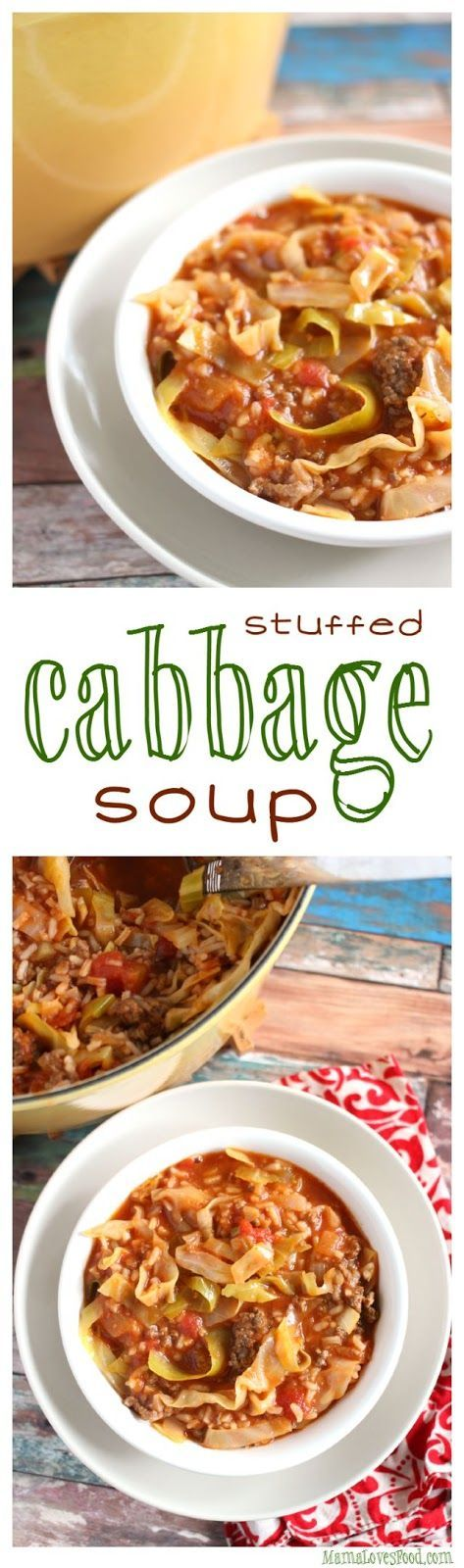 Stuffed Cabbage Soup! There is nothing like warm comfort food recipes when the fall weather starts getting cold. I can't wait to make this meal for dinner!