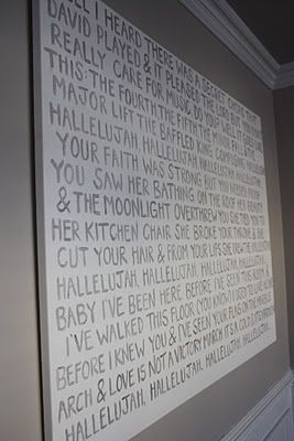 Hand write lyrics to a song on canvas 3'x4' in silver writing and hang in home.  love love love i will do this.  song in mind.
