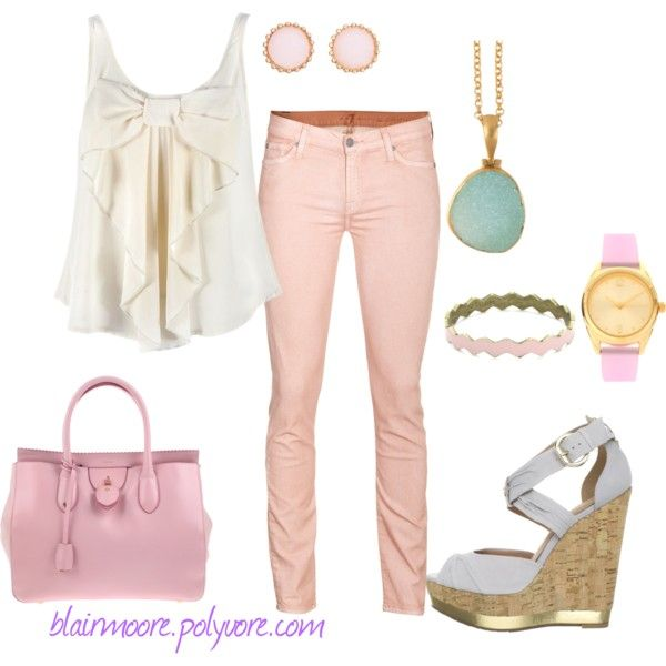 cotton candy, created by blairmoore on Polyvore: Candy Pink, Summer Cotton, Cotton Candy, Candy Colors, My Style Summer, Cute Outfits, Pink Jeans, Blairmoor, Nice Outfits