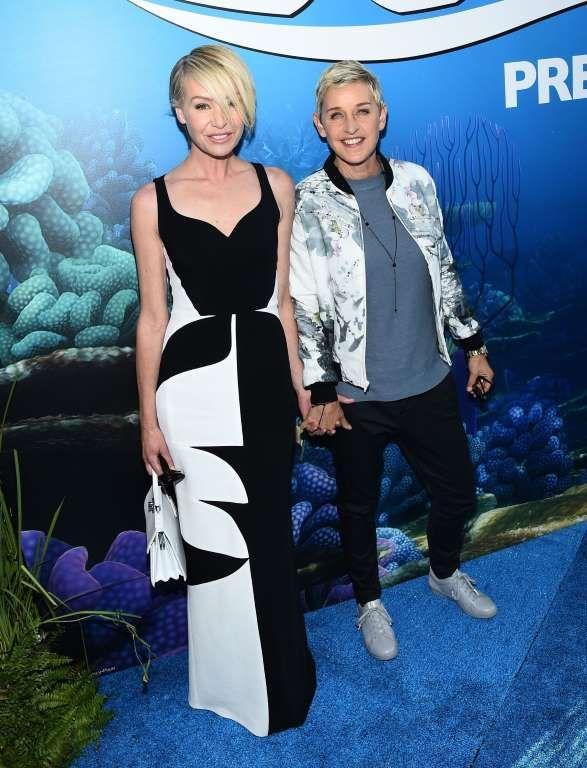 "Portia de Rossi and Ellen DeGeneres attend the ""Finding Dory"" film premiere in Los Angeles on June 8, 2016."