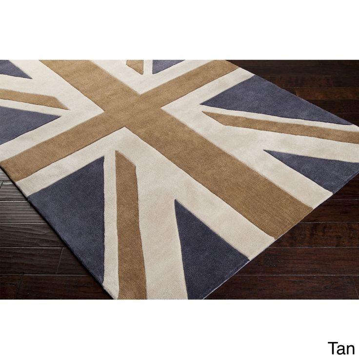 Hand-tufted Union Jack Novelty Contemporary Area Rug