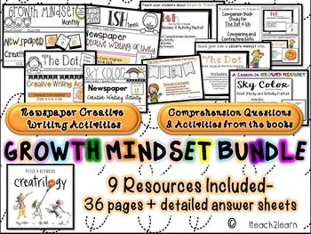 Peter H. Reynolds is the author and illustrator for the Creatrilogy (Create+trilogy) books that focus on growth mindset.This resource includes:27 pages of activities and questions that focus on the 3 books-comprehension questions-cause and effect-summarizing the main details(Somebody,wanted, but, so, then)-Identifying character traits5 Creative Writing Newspapers to write from the perspectives of the characters4 The Dot pennants to practice ELA skills and also to decorate your classroomThe 9 ...