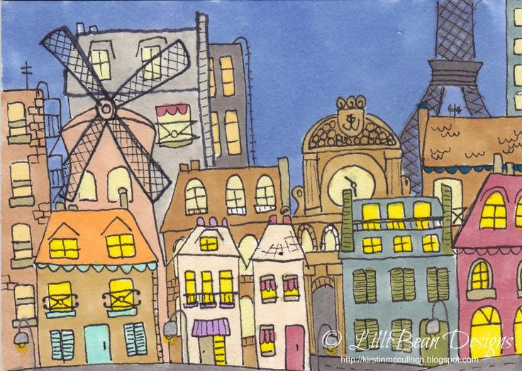 ATC Swap 'Girl in City' background   LISTENING TO THE SQUEAK INSIDE art by Kirstin McCulloch of LilliBean Designs