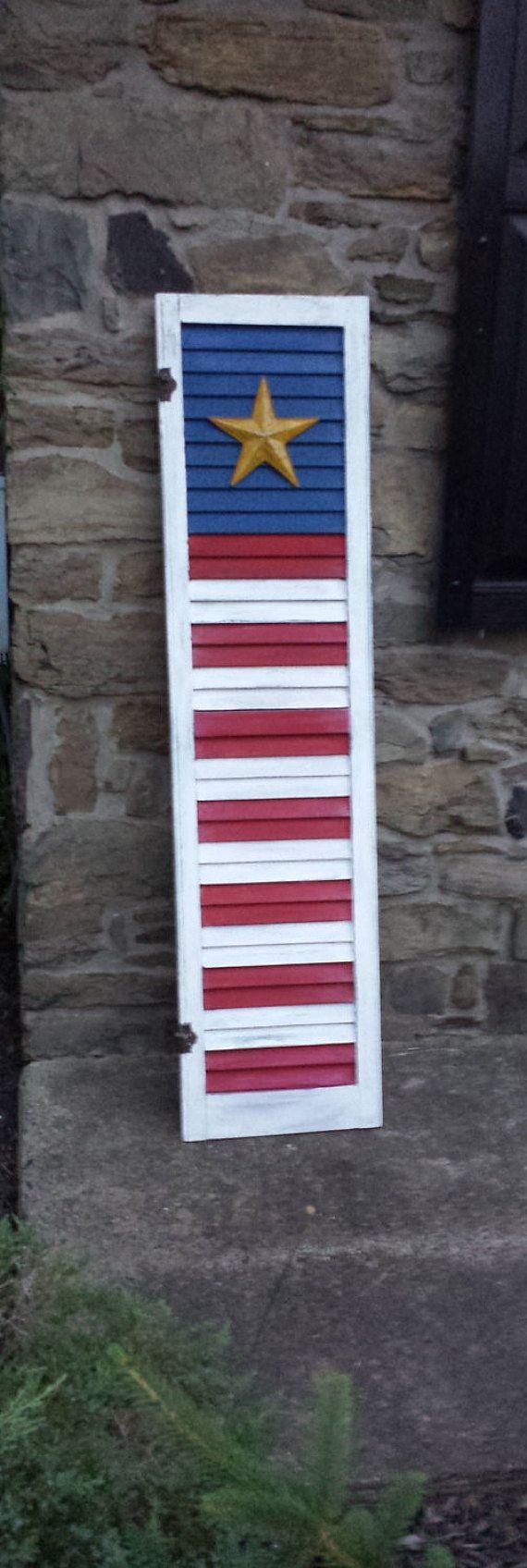 American Flag Shutter  Distressed Vintage Wood Shutter