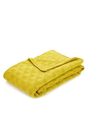 Ochre Diamond Knitted Throw