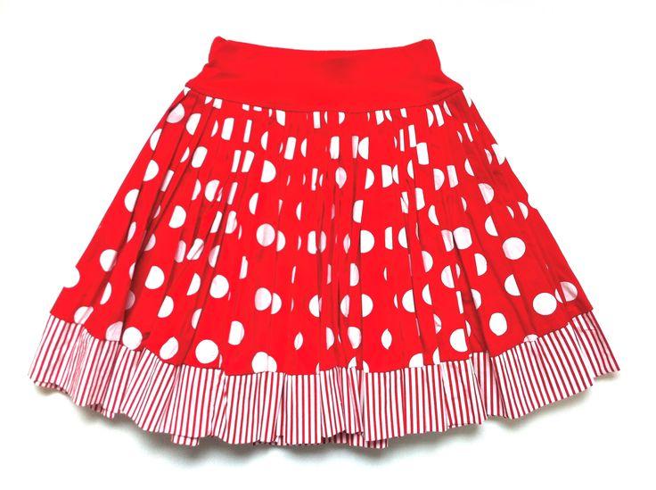 Red & White Spot Print Cotton Skirt w/ Stripe TrimKAF KIDS  51 Mackelvie Street, Grey Lynn, Auckland. #kidsfashion  http://kafkids.co.nz/