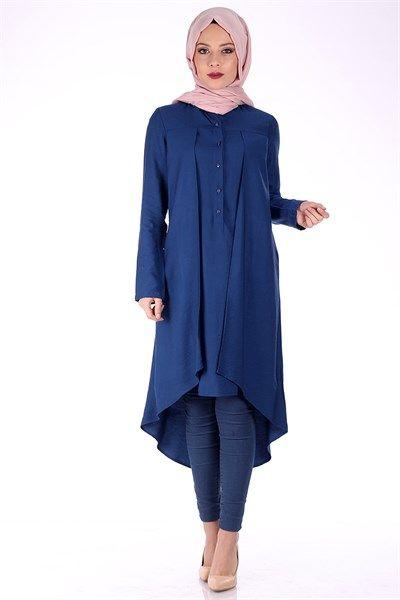 Düğmeli Pile Detay Tunik 1095 - Gece Mavi Tunik Modelleri - Kirazgiyim