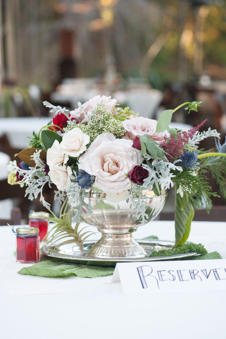 Lush blush and burgundy rose centerpiece my wedding