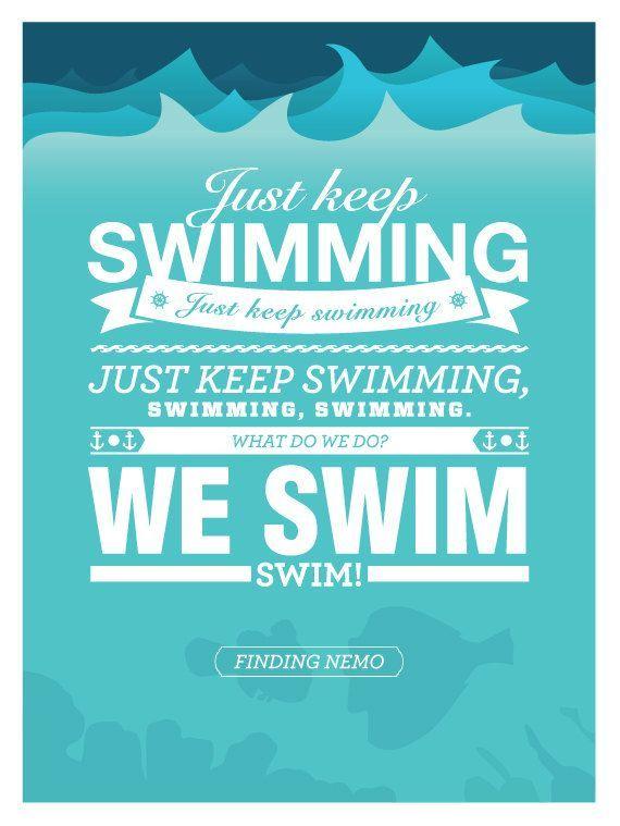 Disney Finding Nemo Keep On Swimming Poster 12x16 Art Print Dory Swimming Quotes Swimming Posters Finding Nemo