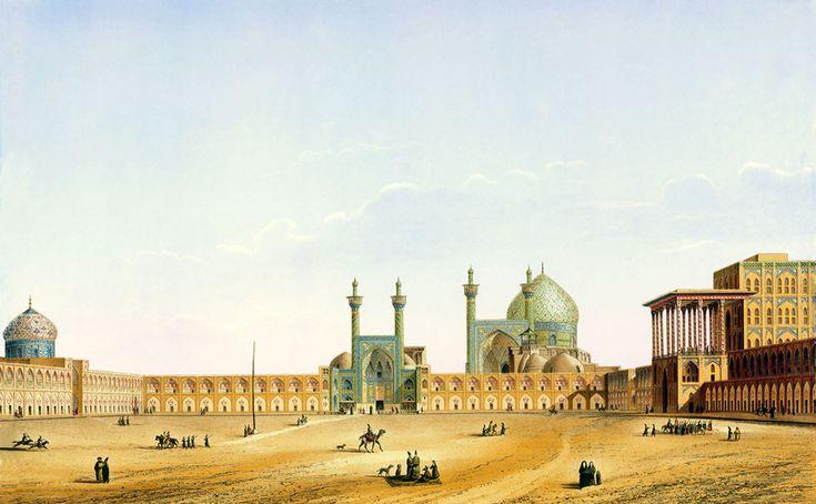 « Vue de la Place royale d'Ispahan », Pascal Coste, vers 1850. L'architecte a dessiné la place Naghsh-e Jahan suite à son voyage en Perse avec l'ambassade du roi de France en 1839.