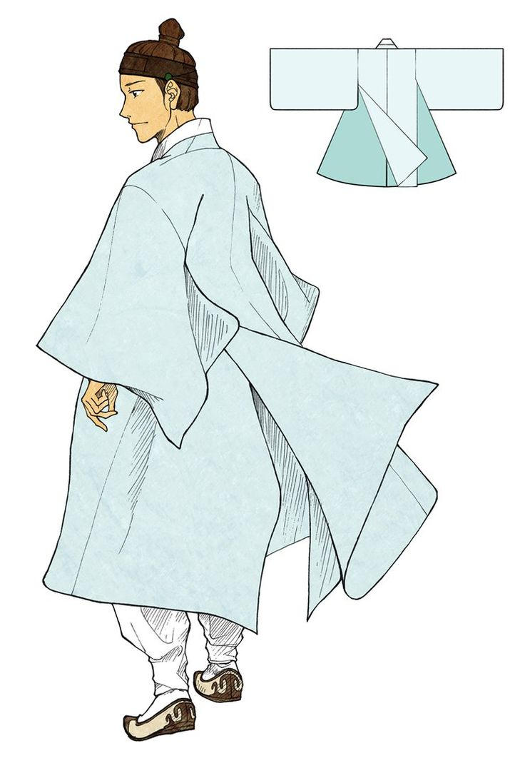"Dopo is maybe one of the most famous male hanbok. It was a overcoat for men, usually ""seonbi"", after the mid Joseon. Dopo's special mark is that is has three back hems. Two from the front part are connected on the inside, and the other one from the back part covers them. This shape help to hide underwears, legs, and the inner rumpled, and make the skirt part flutter very lavish."