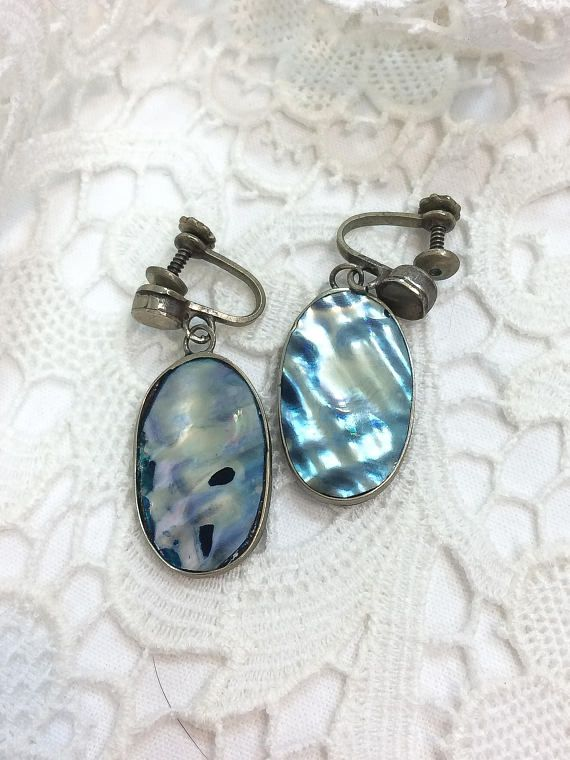 0b3660996 Sterling Silver Abalone Dangle Earrings, Shiny Blue and White Oval Dangles, Screw  Back, 1940s 1950s, Vintage Boho Beach Nature Jewelry