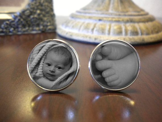 Cufflinks  Newborn Baby  New Father gift  Grandpa by AGiftToLove, $18.25