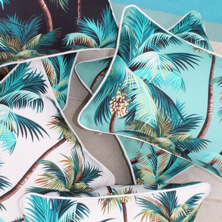 Outdoor cushion in palm trees natural (various sizes available)