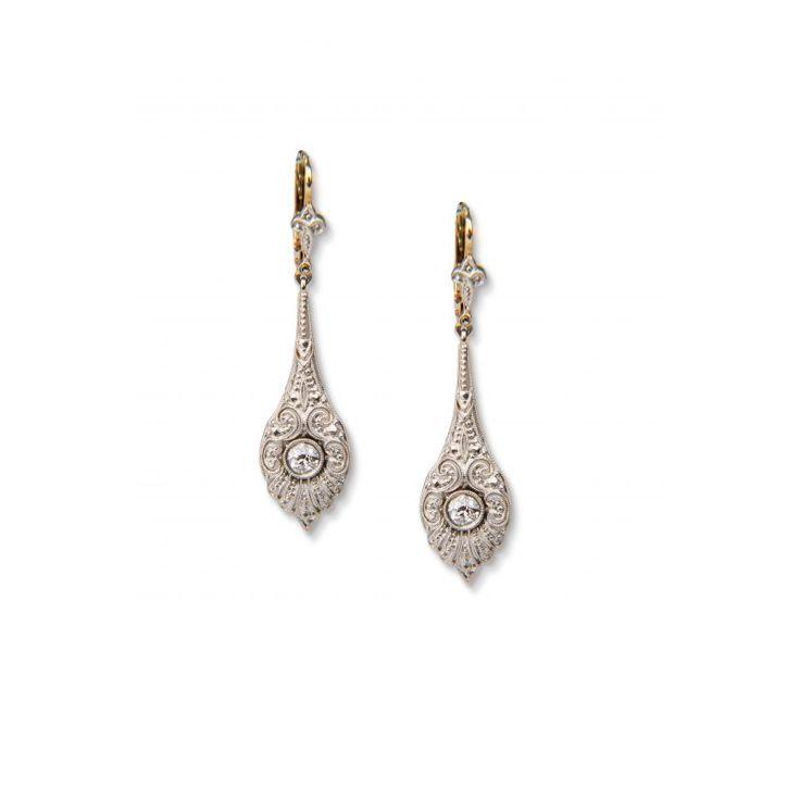 14ct Diamond Art Deco Earrings