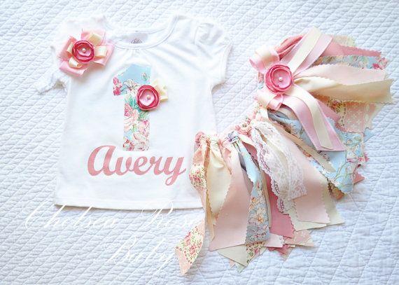 Shabby Chic Fabric tutu set, Shabby Chic Birthday Outfit, Birthday tutu, Tea Party Outfit, 1st Birthday, baby girl, newborn outfit