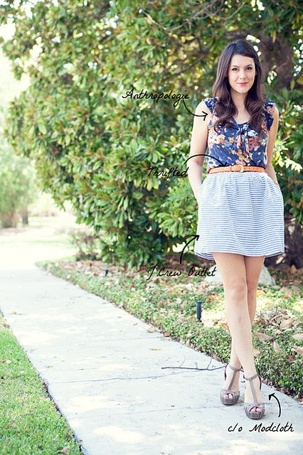 #loveit: Floral Tops, Fun Style, Floral Blouses, Mixed Patterns, Stripes Skirts, Mixed Prints, Stripes Fashion, Fashion Inspiration, Patterns Mixed