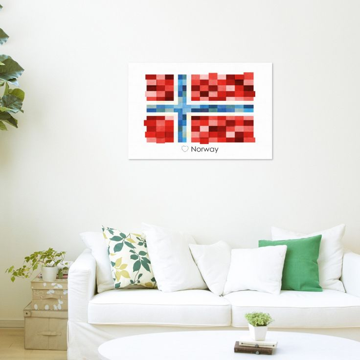 Poster Print Wall art Norway Flag Europe