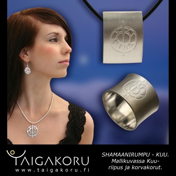 The Moon jewelry, pendant, shaman drum jewellery. www.taigakoru.fi