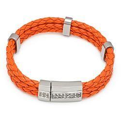 Orange Three Layer Leather Cuff Bracelet