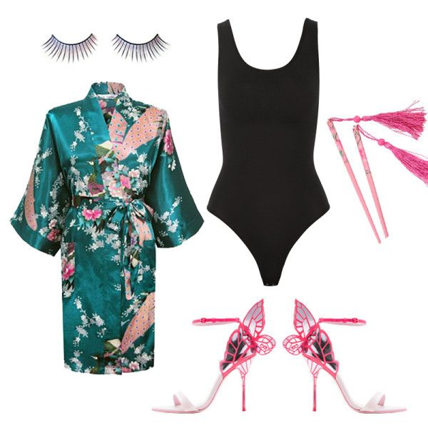 Geisha - A thigh-grazing robe and statement heels show just enough skin to pull off this geisha look.
