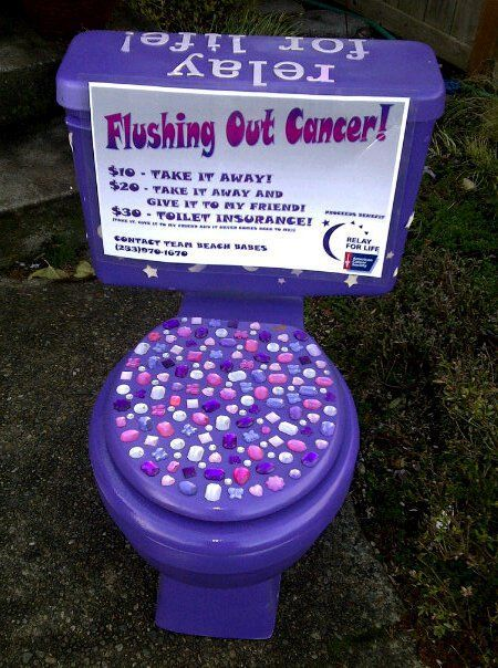 Awesome Relay for Life fundraiser!!!!!  And I want to put bling all over my toilet at home...