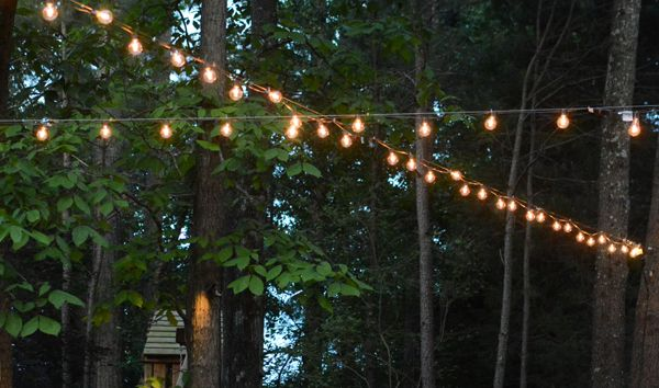 17 best images about backyard party on pinterest game of for How to hang string lights on trees