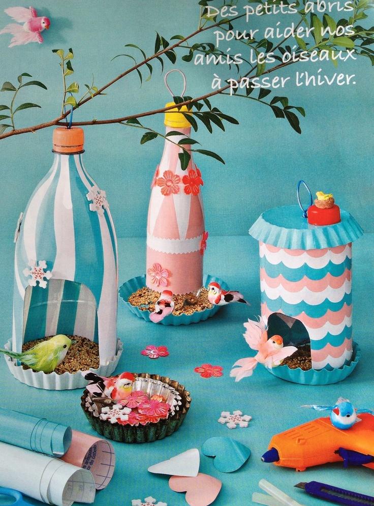mangeoires pour oiseaux avec des bouteilles en pet brico r cup 39 pinterest animaux de compagnie. Black Bedroom Furniture Sets. Home Design Ideas