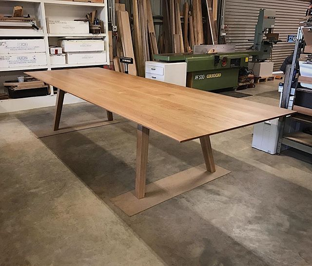 Custom made ST1010 dining table in beautiful, American Oak. Easily the biggest dining table we have made in a while. 3500 x 1200mm 12-14 seater. Nice that this one is being delivered locally. #furnituremaker #custommade #handcrafted #dunsborough #oak #diningtable