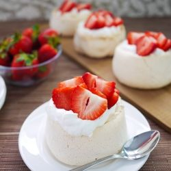 The most perfect individual Pavlovas, crunchy outside, gooey inside.