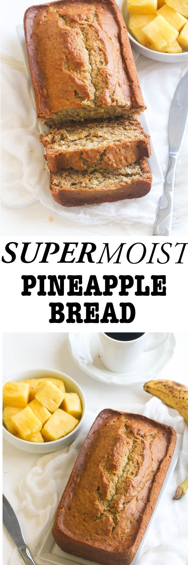 Moist pineapple banana bread laced with rum, vanilla and nutmeg and with bits of crushed pineapple throughout. Oui Oui Oui. Count me in.  Now don't you want to enjoy a tropical breakfast right in the comfort of your home? And for an added bonus it is so easy to put together.   Whip up …