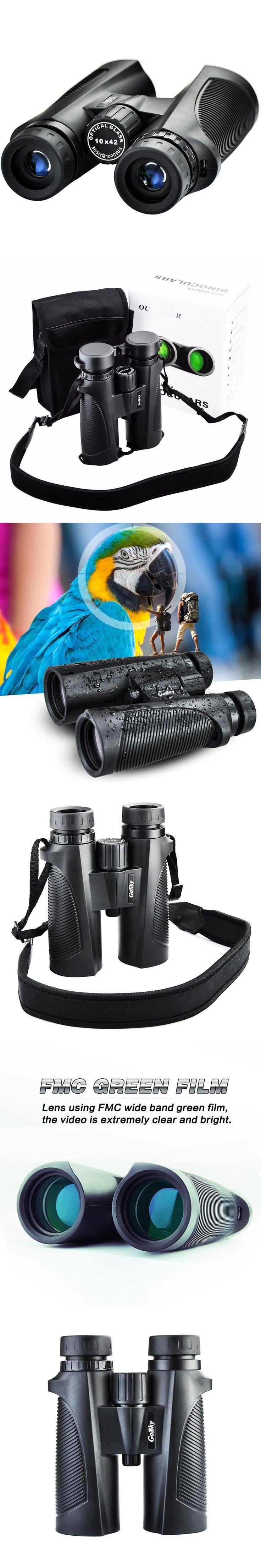 10X42 Prism Binocular - Waterproof /Fog-proof/Shockproof Grip Scope -FMC Green Film Optical Lens