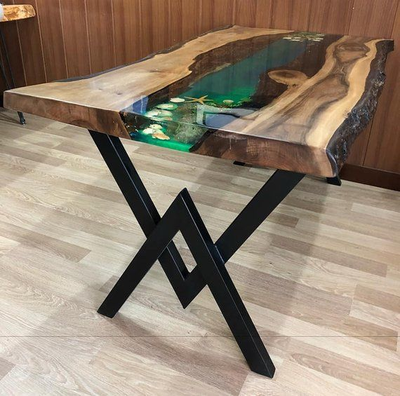 Table, epoxy resin table walnut tree table, resin table