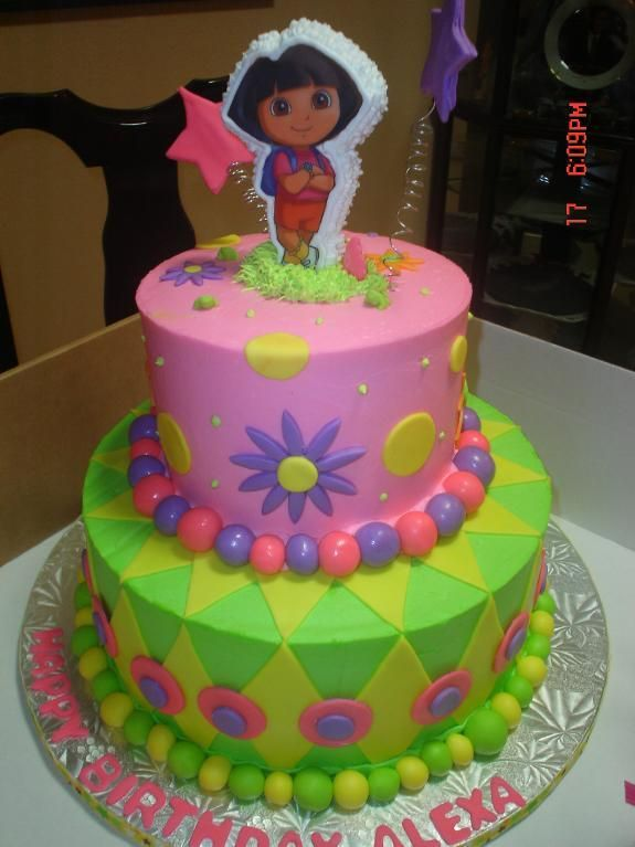 Great Dora the Explorer birthday cake. Picture the party room filled with lime green, pink and purple balloons, streamers, and confetti--Nice!