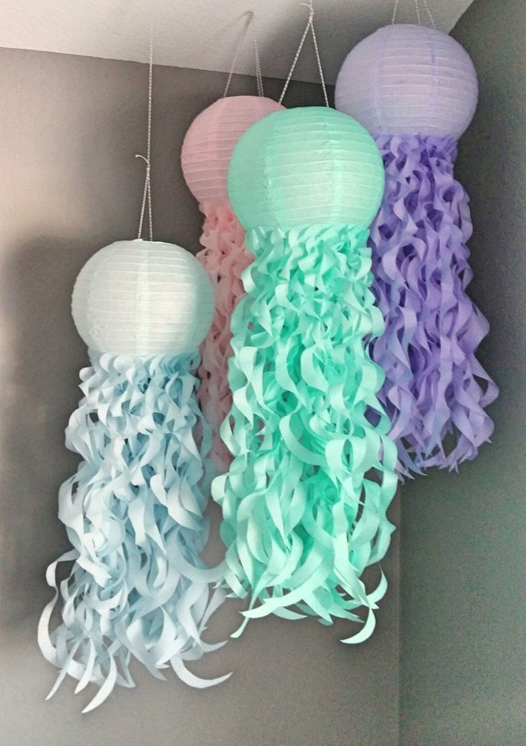 Pastel Jellyfish Paper Lanterns- Mermaid party- Pastel Party Lanterns- Under the Sea- Birthday Party Decorations- Nursery Decor-Set of 4 by