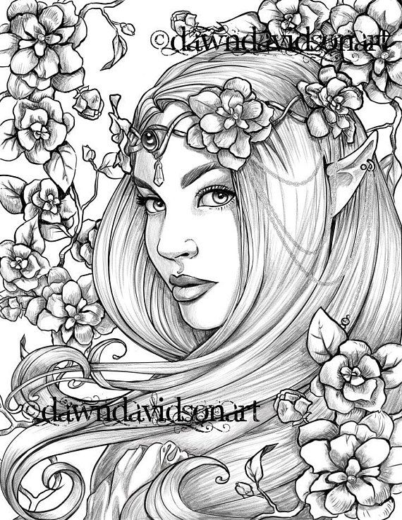 Freckles The Fairy Coloring Page Printable Colouring For Adults Instant Download Grayscale Coloring Fantasy Stress Relief In 2021 Fairy Coloring Pages Grayscale Coloring Fairy Coloring
