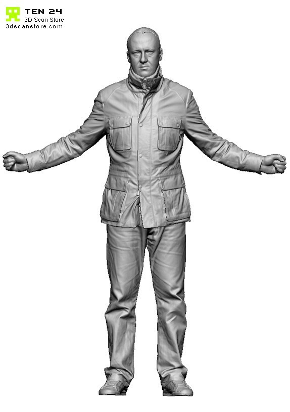Buy and Sell 3D Scans Male 02 Full Body Scan Leather Jacket Arms Out