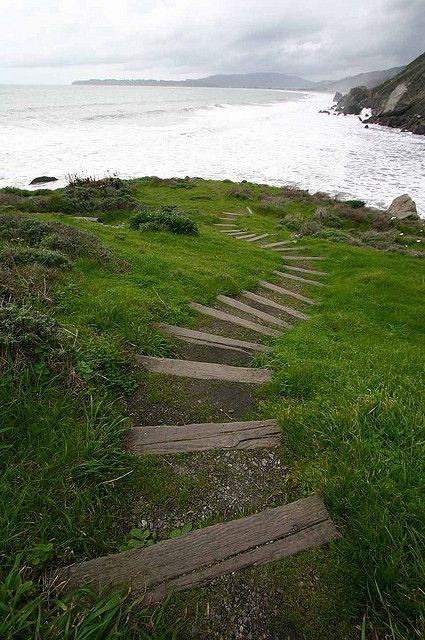 Steep ravine path using railroad ties