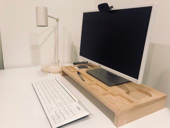 Monitor Stand Wood Monitor Riser Wood Wooden Desktop Etsy Monitor Riser Desktop Organization Monitor Stand