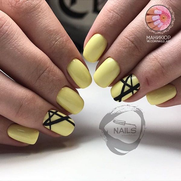Strip it Up Yellow Nail Art. If you have your lunch date within hour and you still don't know what to do with your nails, just go with this simple yet amazing black stripped nails over yellow base. Trust me this can beat your fancy nails.
